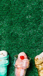 Ice Cream in Colorful Cone Dishes on Grass  image 4