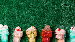 Ice Cream in Colorful Cone Dishes on Grass  image 6