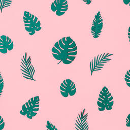 Tropical Leaves on Pink Background  image 4