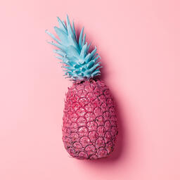Colorful Pineapple on Pink Background  image 21