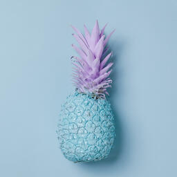 Colorful Pineapple on Blue Background  image 2