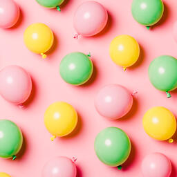 Citrus Colored Balloons Scattered on Pink Background  image 17