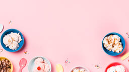 Bowls of Ice Cream and Spoons on Pink Background  image 13