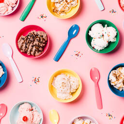 Bowls of Ice Cream and Spoons on Pink Background  image 23