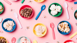 Bowls of Ice Cream and Spoons on Pink Background  image 17