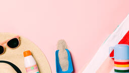 Beach Day Supplies on Pink Background  image 6