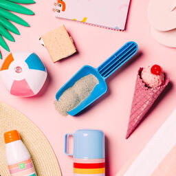 Beach Day Supplies on Pink Background  image 10