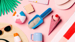 Beach Day Supplies on Pink Background  image 12