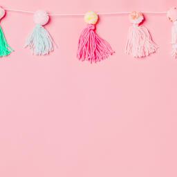 Yarn Tassel Garland on Pink Background  image 2