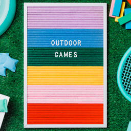 Outdoor Games Letter Board with Game Supplies on Grass  image 5