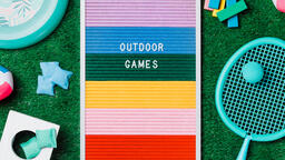 Outdoor Games Letter Board with Game Supplies on Grass  image 2