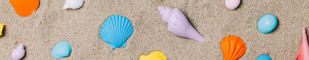 Painted Sea Shells on Sand large preview