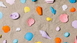 Painted Sea Shells on Sand  image 2