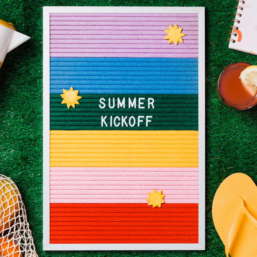 Summer Kickoff Letter Board with Summer Supplies on Grass large preview