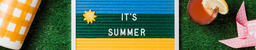 It's Summer Letter Board with Summer Supplies on Grass  image 1