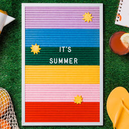 It's Summer Letter Board with Summer Supplies on Grass  image 3