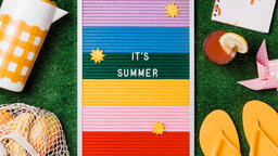 It's Summer Letter Board with Summer Supplies on Grass  image 5