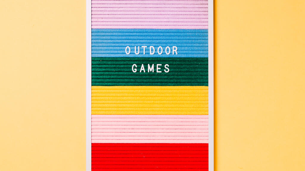 Outdoor Games Letter Board on Yellow Background large preview