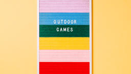 Outdoor Games Letter Board on Yellow Background  image 1