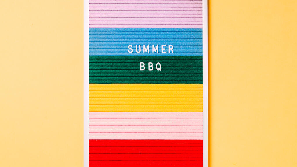 Summer BBQ Letter Board on Yellow Background large preview