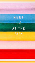 Meet Us at the Park Letter Board on Yellow Background  image 1