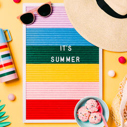 It's Summer Letter Board with Beach Day Supplies on Yellow Background  image 3