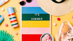 It's Summer Letter Board with Beach Day Supplies on Yellow Background  image 5