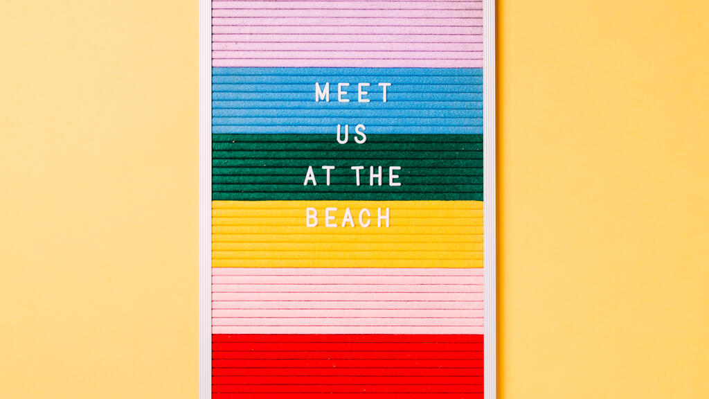 Meet Us at the Beach Letter Board on Yellow Background large preview