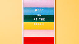 Meet Us at the Beach Letter Board on Yellow Background  image 1