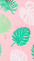 Tropical Paper Leaves on Pink Background  image 14
