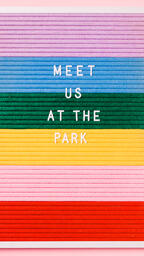 Meet Us at the Park Letter Board on Pink Background  image 4