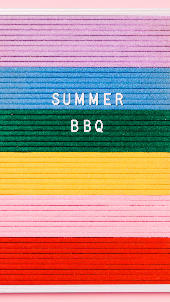 Summer BBQ Letter Board on Pink Background large preview