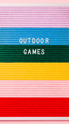 Outdoor Games Letter Board with Game Supplies on Pink Background  image 3
