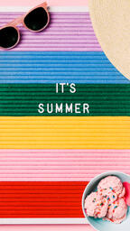 It's Summer Letter Board with Beach Day Supplies on Pink Background  image 4