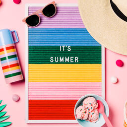 It's Summer Letter Board with Beach Day Supplies on Pink Background  image 2