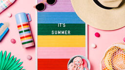 It's Summer Letter Board with Beach Day Supplies on Pink Background  image 1