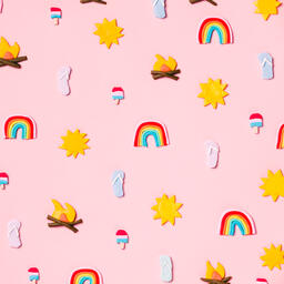 Clay Summer Icons on Pink Background  image 10