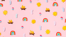Clay Summer Icons on Pink Background  image 9