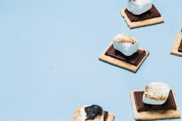 S'mores Scattered on Blue Background  image 25