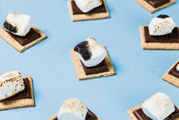 S'mores Scattered on Blue Background  image 16