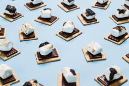 S'mores Scattered on Blue Background  image 15