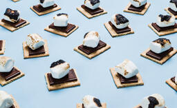 S'mores Scattered on Blue Background  image 32