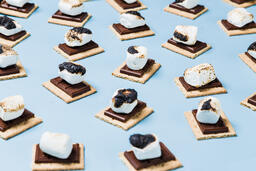 S'mores Scattered on Blue Background  image 26