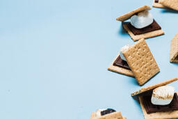 S'mores Scattered on Blue Background  image 24