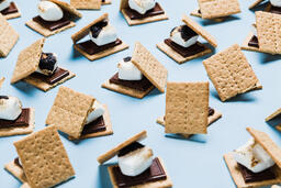 S'mores Scattered on Blue Background  image 39