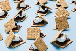 S'mores Scattered on Blue Background  image 38