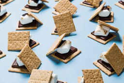 S'mores Scattered on Blue Background  image 31