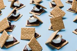 S'mores Scattered on Blue Background  image 12