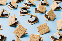 S'mores Scattered on Blue Background  image 11