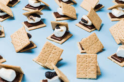 S'mores Scattered on Blue Background  image 5